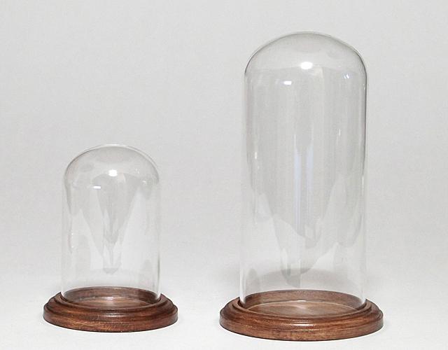 ボトルフラワー用ガラス容器  木台付きドーム(E-03.04)