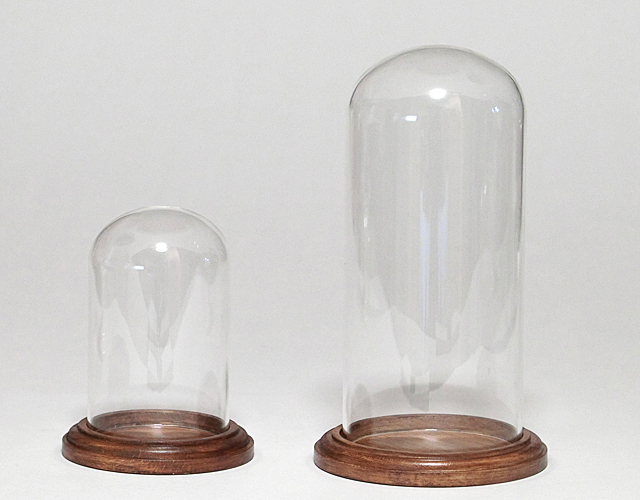ボトルフラワー用ガラス容器  木台付きドーム(E-03 E-04)