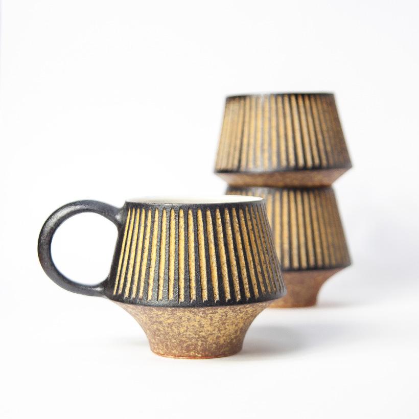 醇窯 鉄彩 菱形マグカップ 高須 健太郎 陶器 コップ コーヒーカップ かわいい おしゃれ