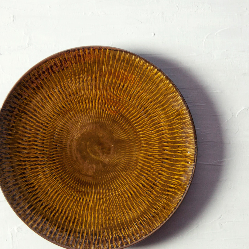 小石原焼 森山實山窯 飛び鉋 七寸皿 大皿 丸皿 ブラウン 陶器 かわいい おしゃれ