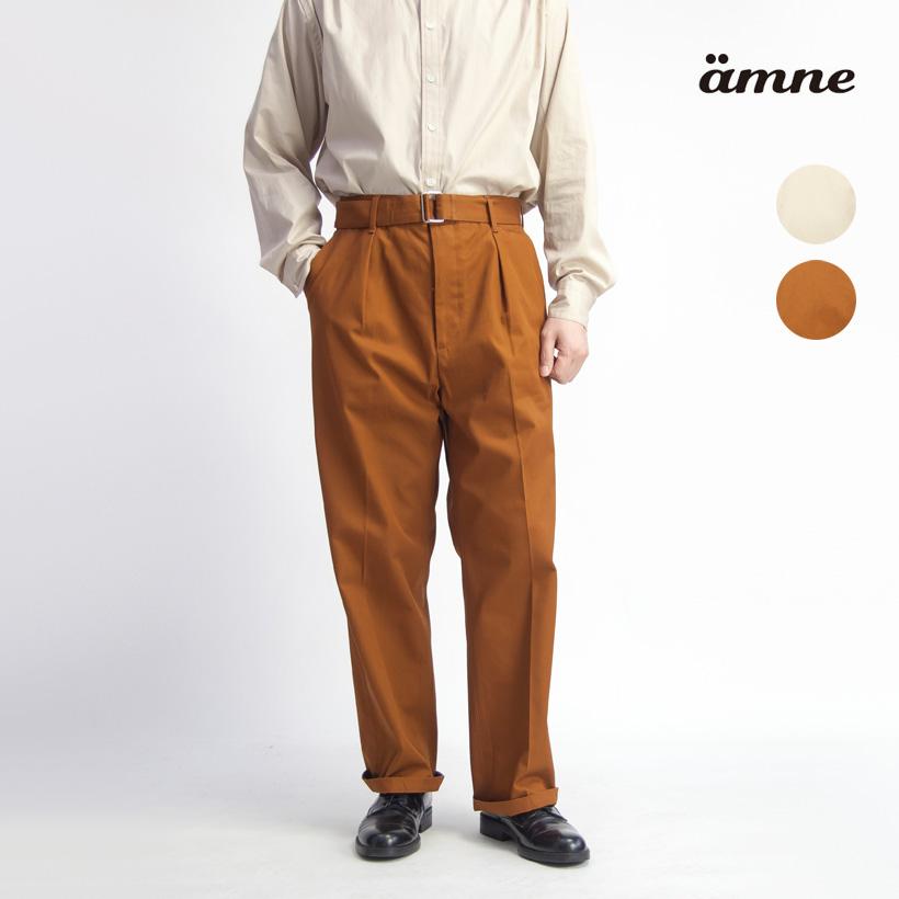 amne アンヌ コットンギャバジン ベルト付きタックワイドパンツ セットアップ対応 日本製 メンズ