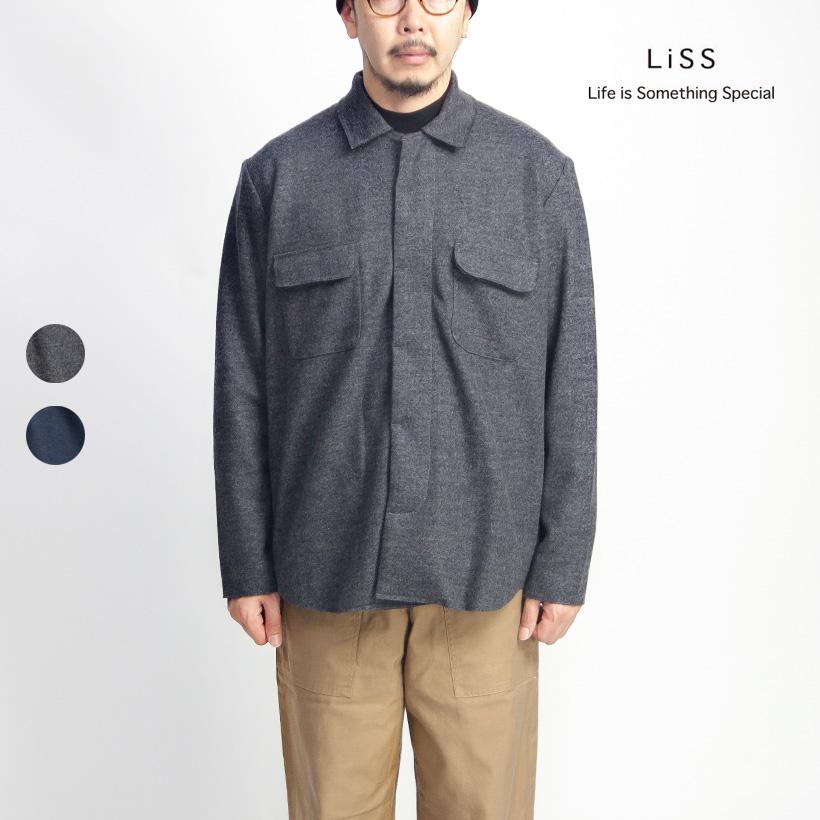 Liss リス ストレッチウール ステンカラーシャツジャケット メンズ