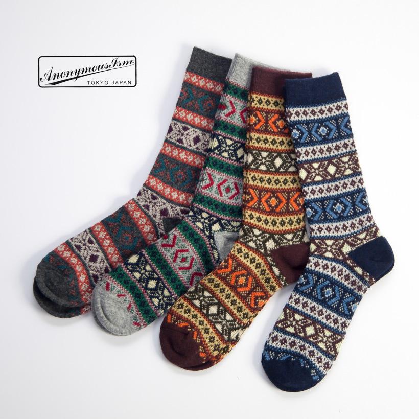 Anonymousism アノニマスイズム ノルディック ウールジャカード クルーソックス 日本製 靴下 メンズ
