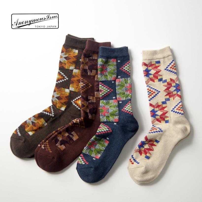 Anonymousism アノニマスイズム アメリカンキルト クルーソックス 日本製 靴下 メンズ