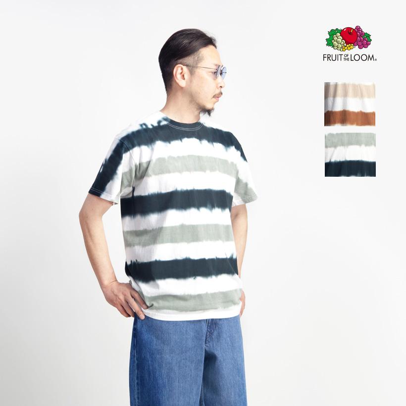 FRUIT OF THE LOOM フルーツオブザルーム ボーダータイダイ染め Tシャツ メンズ
