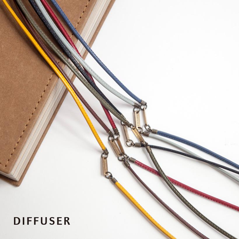 DIFFUSER ディフューザー ブラスプレート 本革 レザー グラスコード メガネコード 日本製 おしゃれ