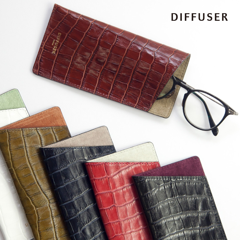 DIFFUSER ディフューザー メガネケース クロコダイル型押し 国産レザー 日本製 眼鏡ケース おしゃれ