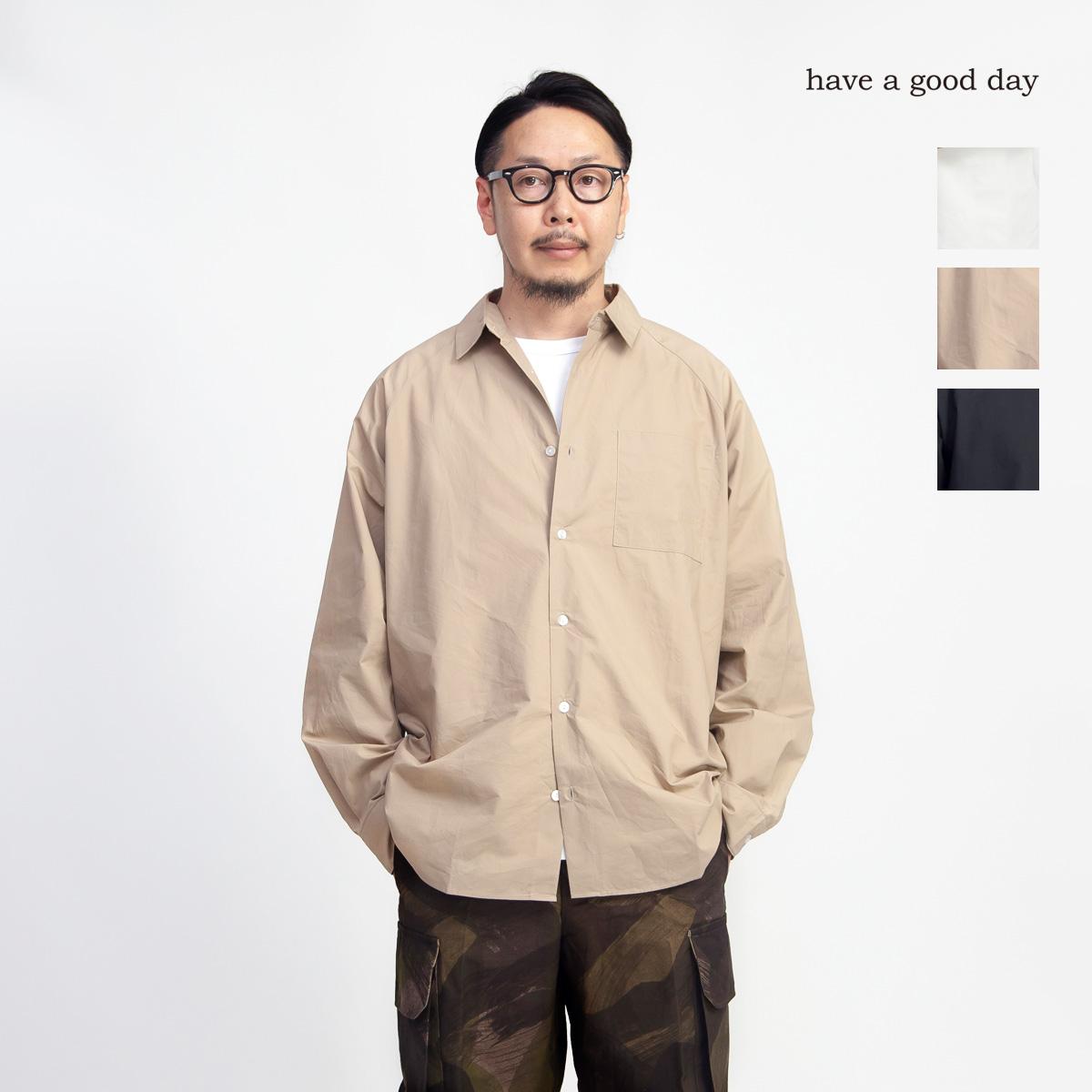 have a good day ハブアグッドデイ タイプライター ラグランスリーブシャツ 日本製 メンズ