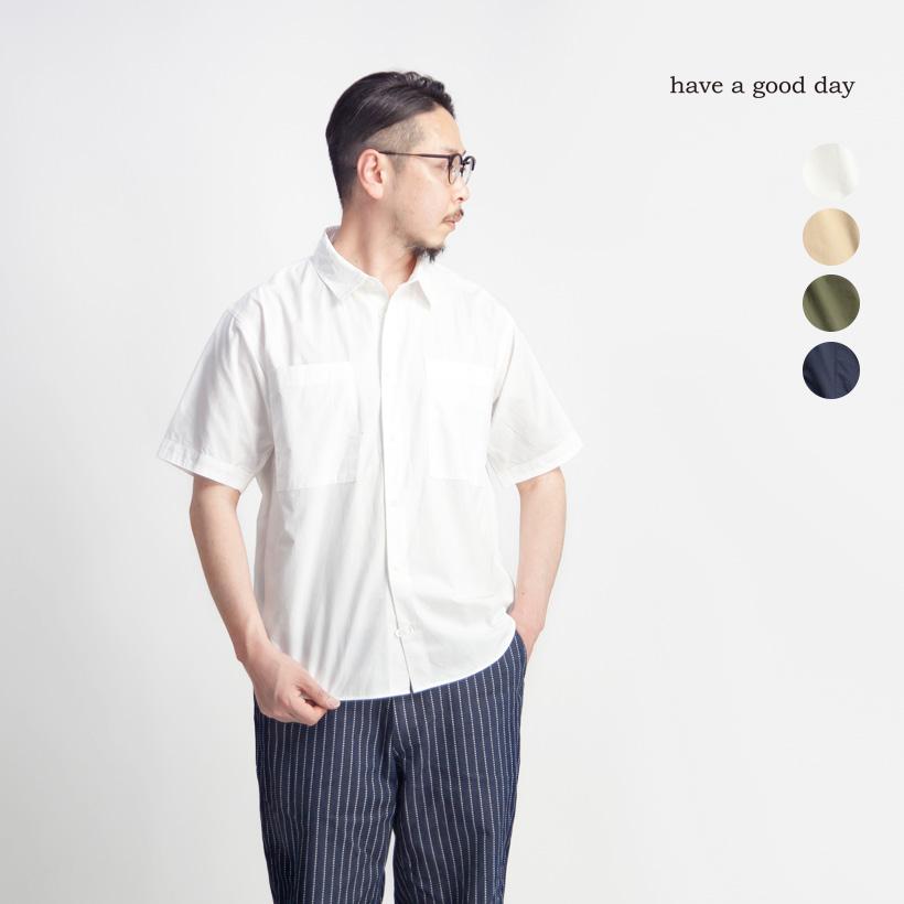 have a good day ハブアグッドデイ タイプライター デイリー半袖シャツ 日本製 メンズ