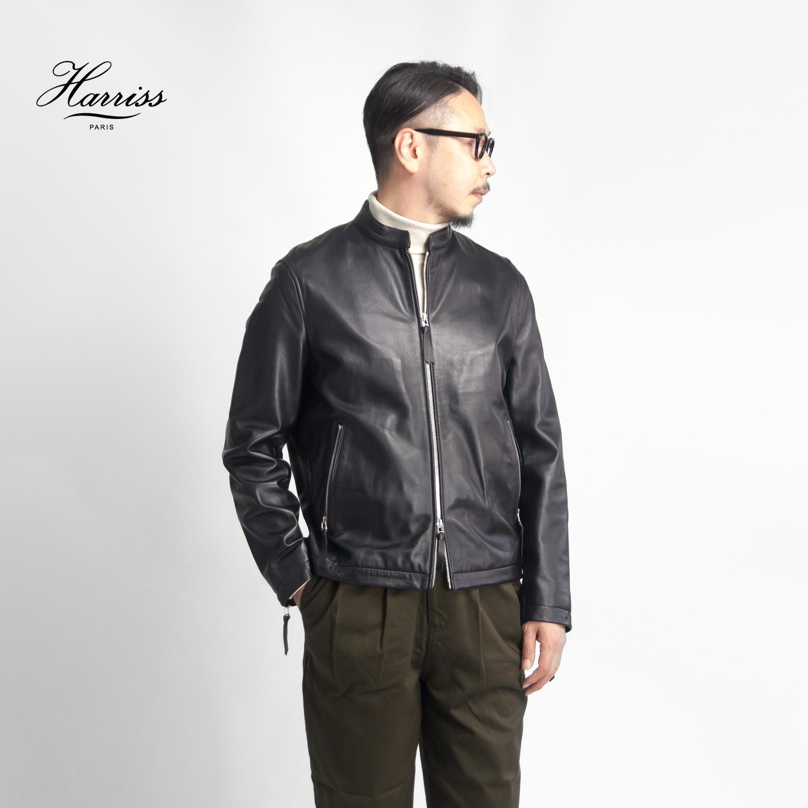 Harriss ハリス ラムレザー シングルライダースジャケット 本革 メンズ