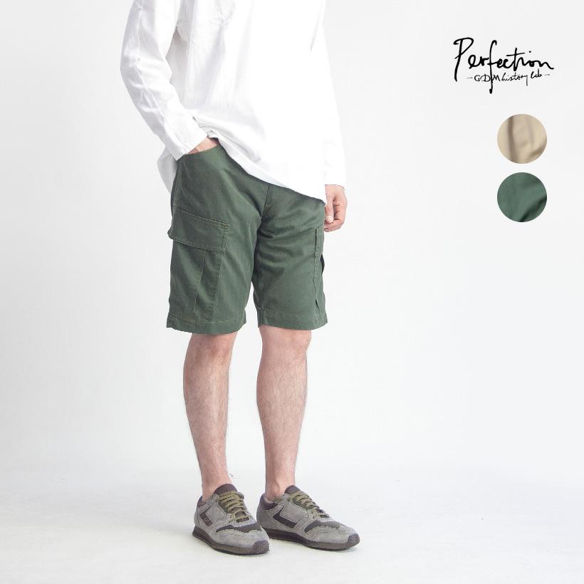 PERFECTION ペルフェクション ヘリンボーン カーゴショートパンツ メンズ