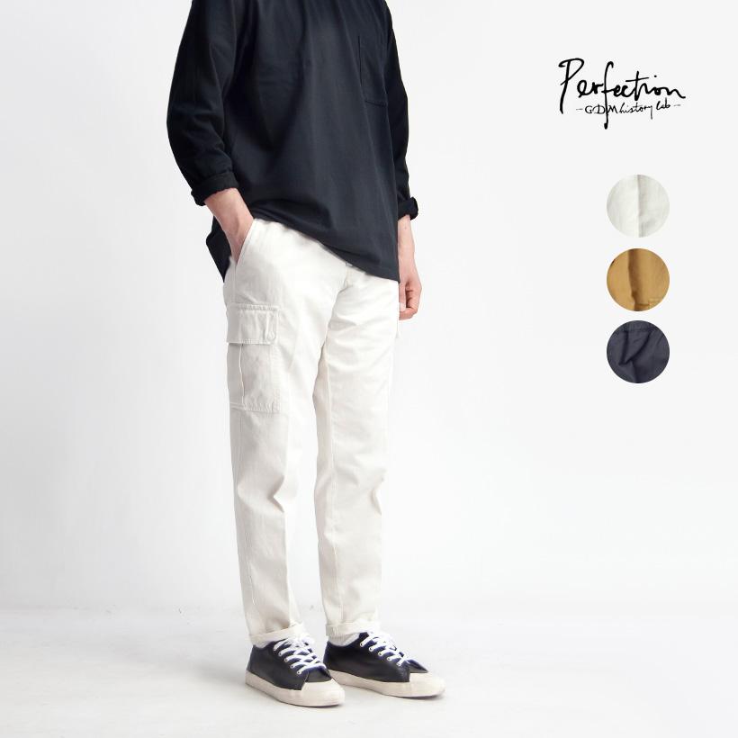 PERFECTION ペルフェクション コットンリネンストレッチ テーパードイージーカーゴパンツ メンズ