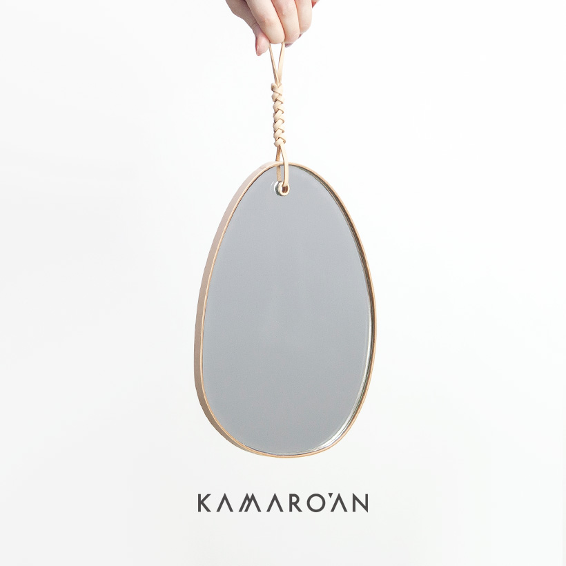 Kamaro'an カマロアン イタリアンレザー 玉石型ウォールミラー 壁掛け 本革 おしゃれ シンプル