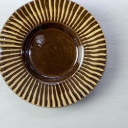 小石原焼 森山實山窯 刷毛目 パスタ皿 丸皿 中皿 ブラウン 陶器 かわいい おしゃれ