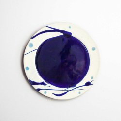 丹波焼 丹波立杭焼 丹文窯 白青たまり リム皿S 取り皿 小皿 陶器 かわいい おしゃれ