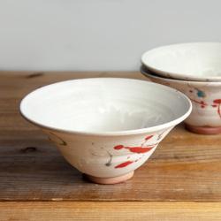 丹波焼 丹波立杭焼 丹文窯 どんぶり ラーメン鉢 白 赤 陶器 かわいい おしゃれ