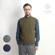 Soglia ソリア ランドノア ブリティッシュウール クルーネック ニットベスト 日本製 メンズ