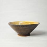 小石原焼 森山實山窯 飛び鉋 茶碗 ブラウン 陶器 かわいい おしゃれ