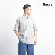 amne アンヌ マルチストライプ バンドカラー半袖シャツ 日本製 メンズ