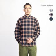 have a good day ハブアグッドデイ ラグランスリーブ コットンフランネルチェックシャツ 日本製 メンズ