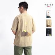 Mared マレッド お日さまお月さまTシャツ バックプリント スプリットラグラン 度詰め天竺 日本製 無地 メンズ