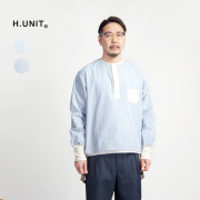 H.UNIT エイチユニット セルヴィッジブロードストライプ ヘンリーネックスリーピングシャツ 日本製 メンズ