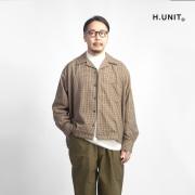 H.UNIT エイチユニット ガンクラブチェック オープンカラー長袖シャツ 日本製 メンズ