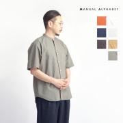 MANUAL ALPHABET マニュアルアルファベット ルーズフィット タイプライター バンドカラー半袖シャツ 日本製 メンズ