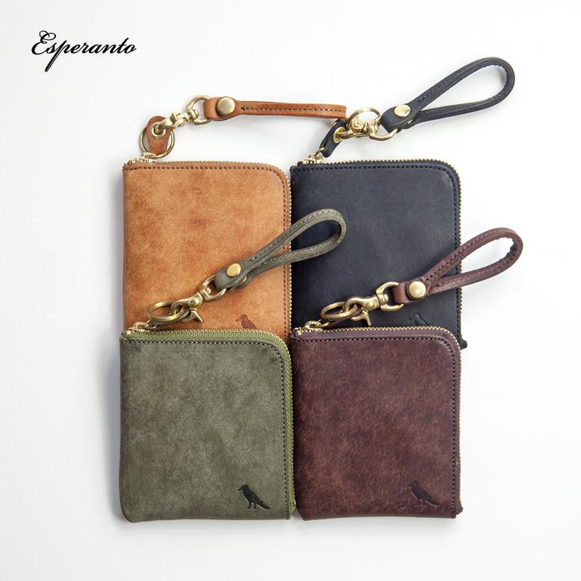 ESPERANTO エスペラント プエブロレザー L字型ジップ財布 ミニ ショートウォレット 本革 日本製