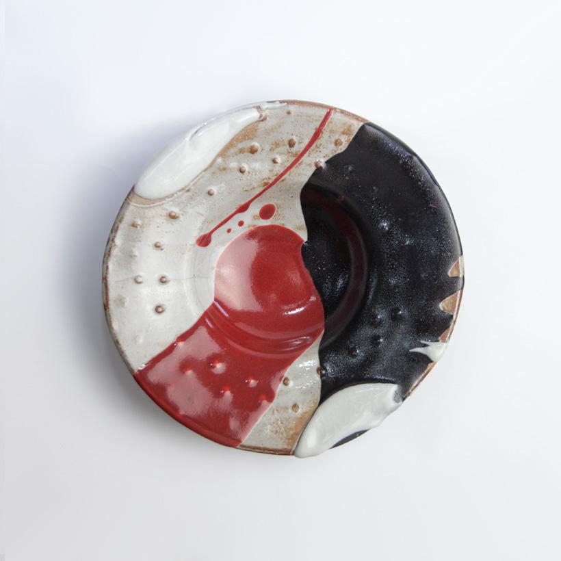 丹波焼 丹波立杭焼 丹文窯 黒白赤 パスタ皿 中皿 陶器 かわいい おしゃれ