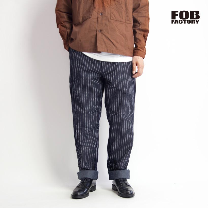 FOB FACTORY FOBファクトリー ウォバッシュストライプ 11オンスジェルトデニムパンツ ワイドテーパード 日本製 メンズ