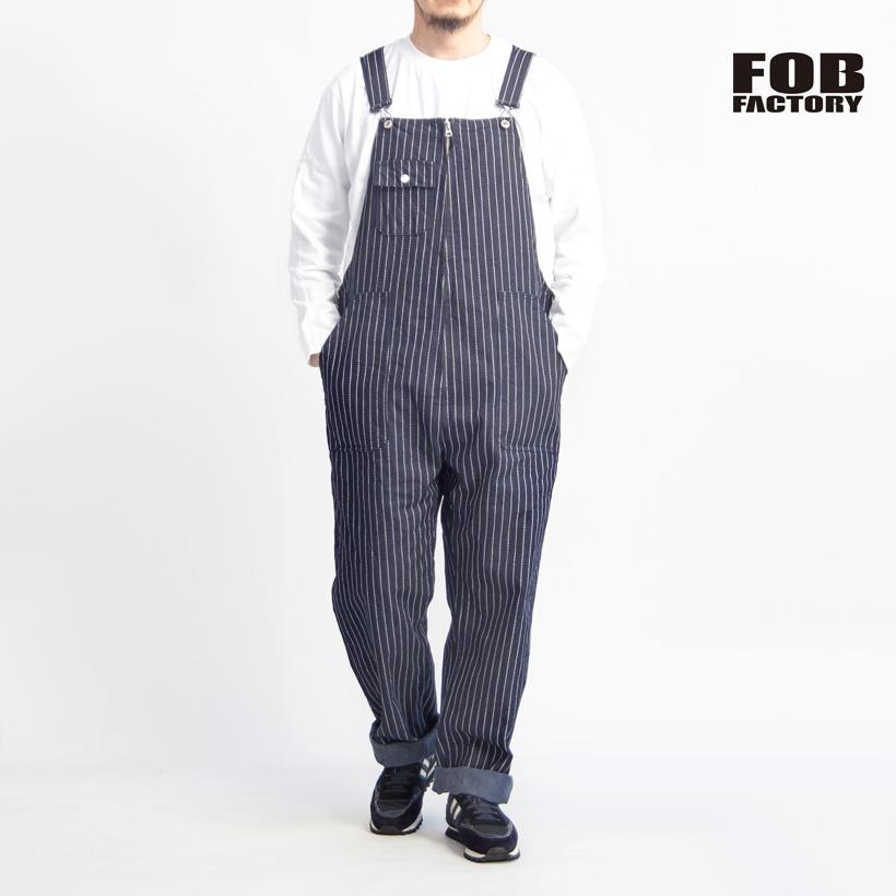 FOB FACTORY FOBファクトリー ウォバッシュストライプ ジェルトデニム オーバーオール 日本製 メンズ