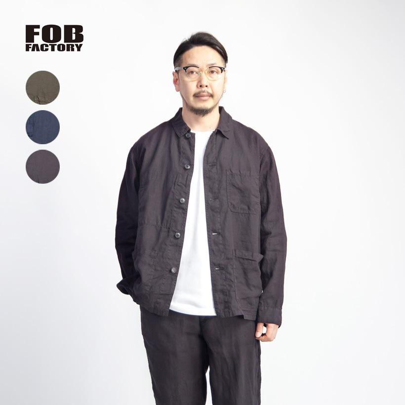 FOB FACTORY FOBファクトリー 麻100% ヘンプ フレンチカバーオールシャツジャケット セットアップ対応 日本製 メンズ