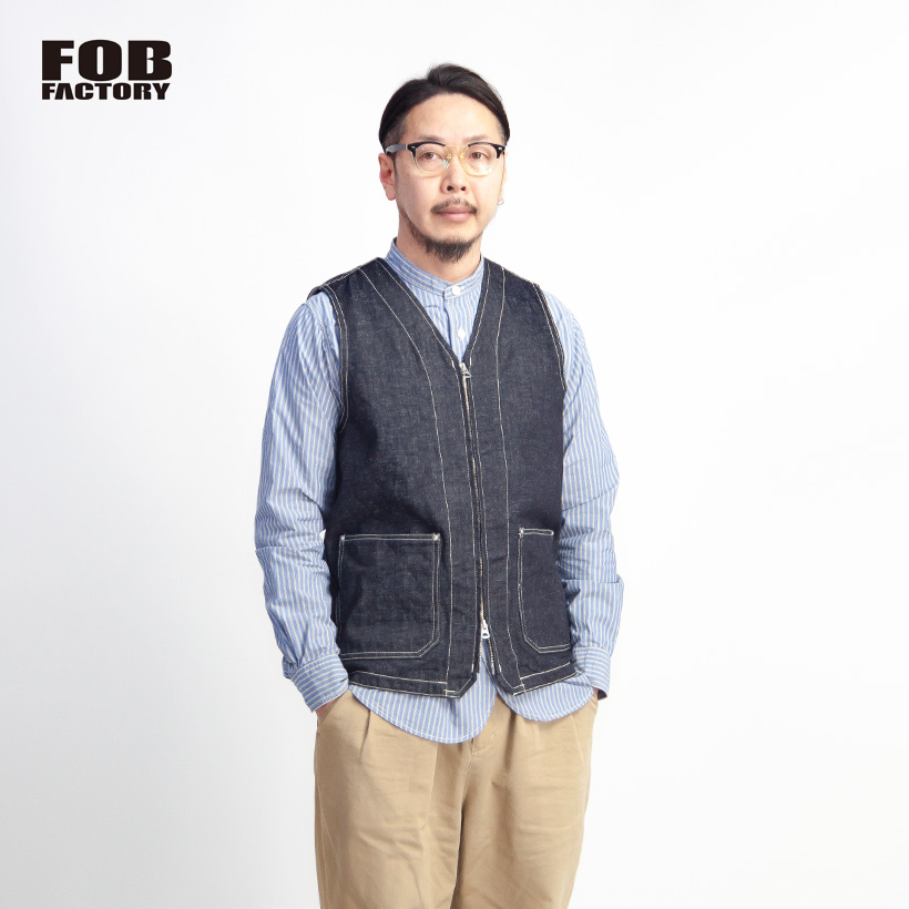 FOB FACTORY FOBファクトリー ヘンプデニム ジップアップワークベスト 3ピース対応 日本製 メンズ