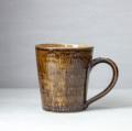小石原焼 森山實山窯 飛び鉋マグカップ ブラウン 陶器 コップ コーヒーカップ  かわいい おしゃれ