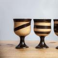 小石原焼 鶴見窯 飛び鉋ワインカップ ワイングラス ゴブレット ブラウン 陶器 かわいい おしゃれ