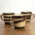小石原焼 鶴見窯 飛び鉋マグカップ ブラウン 陶器 コップ コーヒーカップ  かわいい おしゃれ
