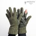 DENTS デンツ ウール×本革レザー シューティンググローブ ニットグローブ 手袋 メンズ