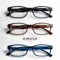 DIROSH ディロッシュ スクエア 軽量 メガネ 度付き 伊達メガネ