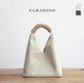 Kamaro'an カマロアン 編み込みレザー×キャンバス トライアングルバッグ S ハンドバッグ ミニトートバッグ レディース