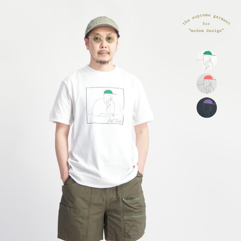 modem design モデムデザイン USAコットン just think プリントリブTシャツ メンズ