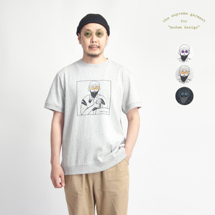 modem design モデムデザイン USAコットン TAKE IT EASY プリントリブTシャツ メンズ