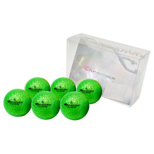 ゴルフボール印刷 クロマックス メタリック2 (ラメ グリーン)単色 6球パック 【両面印刷可能】