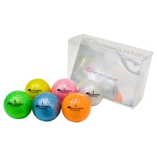 ゴルフボール名入れ印刷 クロマックス メタリック2 (6色セット) 【ゴルフボール 名入れ 通販 イラスト 印刷 贈り物 ギフト プレゼント 当日出荷】