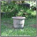 レトロ感 アンドゥーズ 古代調 古仕上げ 花束柄 テラコッタ鉢 ハンドメイド 手作り 高級感