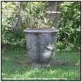 ハンドメイド 格調 高級感 レトロ感 アンドゥーズ 古代調 古仕上げ 花束柄 テラコッタ鉢