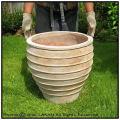 エッシュバッハ社 質感 高級 輸入テラコッタ植木鉢 メリッサアンティコ ガーデン 広口 横筋柄 大型鉢