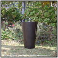 Woody Finish 木目が美しい ラウンド 樹脂製鉢 MOKU 上品 背高 温かい木質 円柱