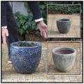 ラウンド33 アンティーク仕上  レア感  重厚感 釉薬付陶器鉢 輸入植木鉢 ボルカーノ