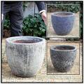 アンティーク仕上 レア感 釉薬付陶器鉢 ラウンド46 輸入植木鉢 ボルカーノ 重厚感